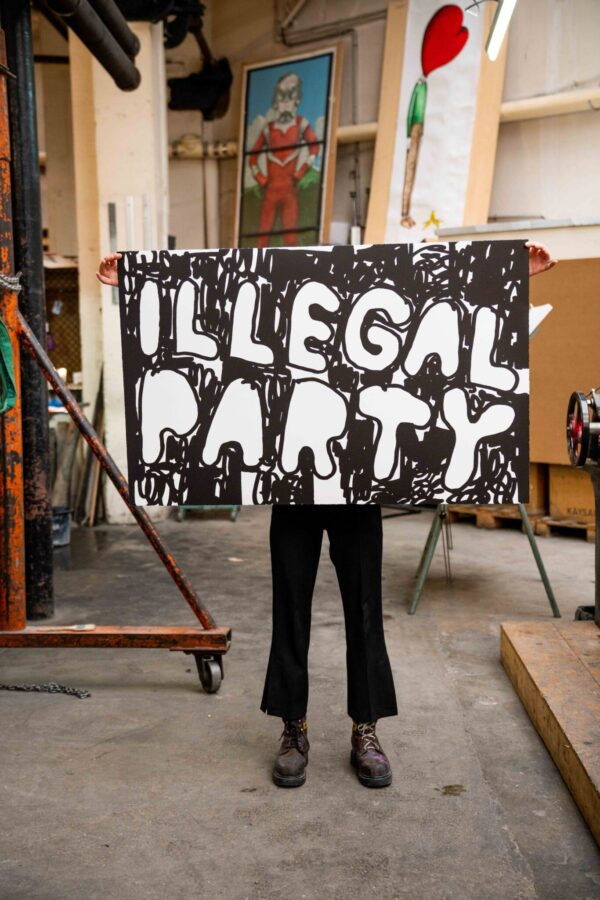 illegal-party-black-stefan-marx-lithograph-presentation-contemporary-art-paris