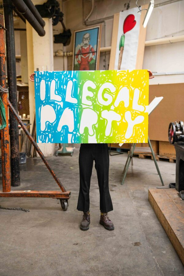 illegal-party-light-blue-green-yellow-stefan-marx-lithograph-contemporary-art-paris