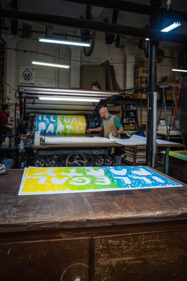 illegal-party-light-blue-green-yellow-stefan-marx-lithograph-printing-process-paris