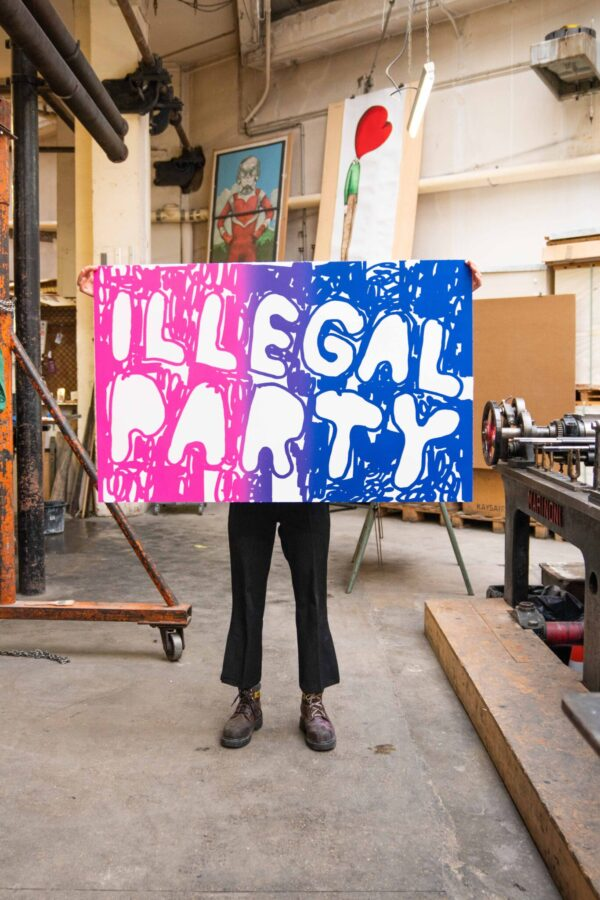 illegal-party-pink-blue-stefan-marx-lithograph-contemporary-art-printing-house-paris