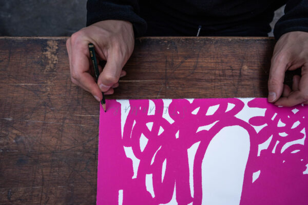 illegal-party-red-pink-stefan-marx-lithograph-artist-signature-process-detail-